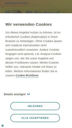 Vorschau der mobilen Webseite www.fit-for-travel.de, Fit for Travel