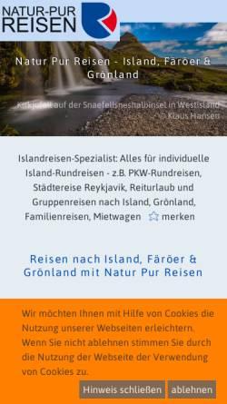 Vorschau der mobilen Webseite www.natur-pur-reisen.de, Natur-Pur-Reisen