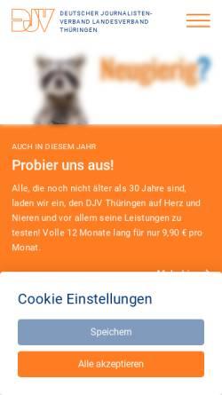 Vorschau der mobilen Webseite djv-thueringen.de, Deutscher Journalistenverband Landesverband Thüringen