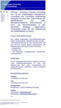 Vorschau der mobilen Webseite www.efcons.eu, EFCons European Foundry Consulting e.K.