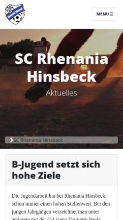 Vorschau der mobilen Webseite www.rhenaniahinsbeck.de, SC Rhenania Hinsbeck