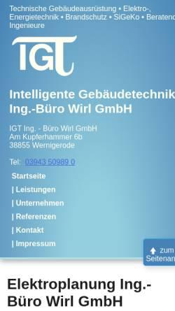 Vorschau der mobilen Webseite www.igt-wirl.de, IGT Gebäudetechnik, Edgar Wirl