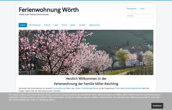 Vorschau von ferienwohnung-woerth.de, Ferienwohnung Miller-Reichling