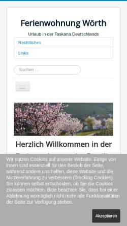 Vorschau der mobilen Webseite ferienwohnung-woerth.de, Ferienwohnung Miller-Reichling