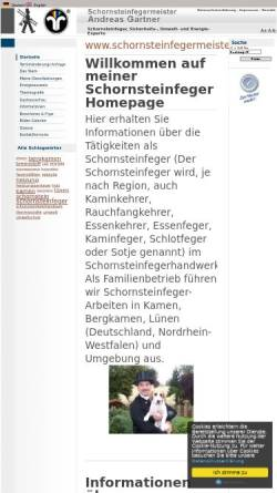 Vorschau der mobilen Webseite www.schornsteinfegermeister.de, Schornsteinfeger Andreas Gärtner