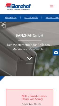 Vorschau der mobilen Webseite www.banzhaf-rolladen.de, Banzhaf GmbH