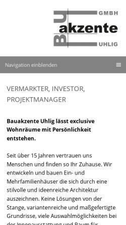 Vorschau der mobilen Webseite www.bauakzente.de, Bauakzente Uhlig GmbH