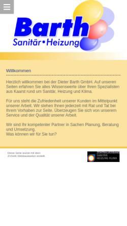 Vorschau der mobilen Webseite www.barthgmbh.de, Dieter Barth GmbH