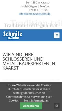 Vorschau der mobilen Webseite www.schmitzundsohn.de, Schmitz und Sohn GmbH