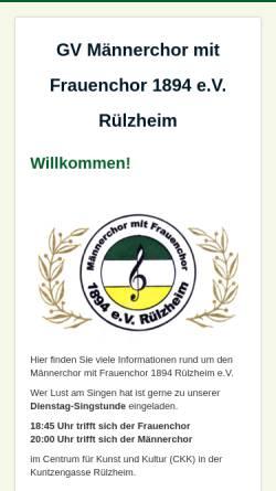 Vorschau der mobilen Webseite www.maennerchor-ruelzheim.de, GV Männerchor mit Frauenchor 1894 e.V. Rülzheim