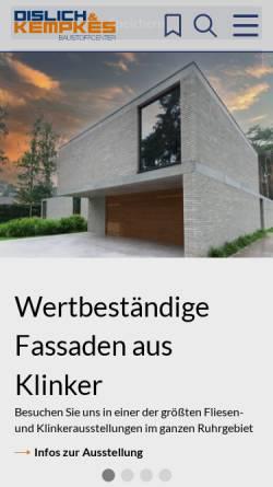 Vorschau der mobilen Webseite www.dislich-kempkes.de, Dislich & Kempkes Baustoffcenter Duisburg