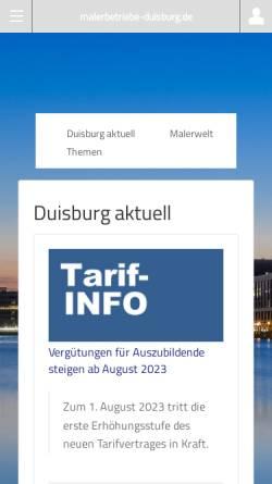 Vorschau der mobilen Webseite www.malerbetriebe-duisburg.de, Malerbetriebe Duisburg