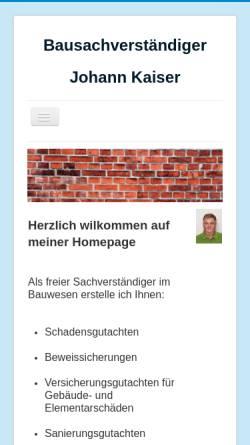 Vorschau der mobilen Webseite www.bausachverstaendiger-kaiser.de, Bausachverständiger