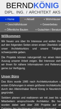 Vorschau der mobilen Webseite www.architekt-bernd-koenig.de, König, Bernd