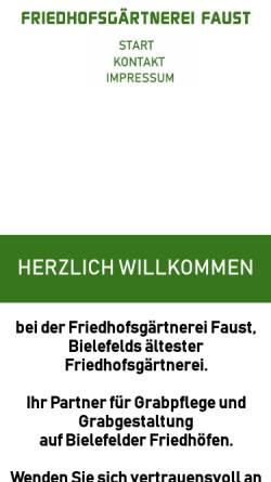 Vorschau der mobilen Webseite www.friedhofsgaertnerei-faust.de, Friedhofsgärtnerei Faust, Inhaber Heinz Faust