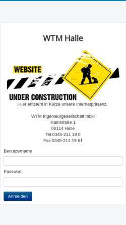 Vorschau der mobilen Webseite www.wtm-halle.de, WTM, Weiler-Thomas-Michael Ingenieurgesellschaft mbH