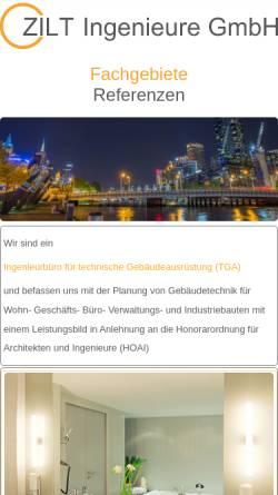 Vorschau der mobilen Webseite www.technische-gebaeudeausruestung.de, Zilt Ingenieure Gesellschaft für technische Gebäudeausrüstung mbH