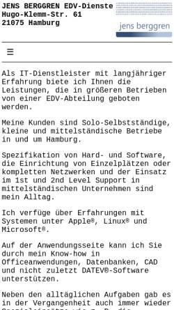 Vorschau der mobilen Webseite www.jb-dienste.de, Jens Berggren EDV-Dienste