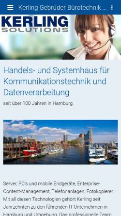 Vorschau der mobilen Webseite kerling-buerotechnik.de, Kerling Bürotechnik GmbH