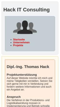 Vorschau der mobilen Webseite www.hack-hamburg.de, SAP und Logistikberatung Thomas Hack