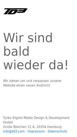 Vorschau der mobilen Webseite www.td3.com, Turbo Digital Media Design & Development GmbH