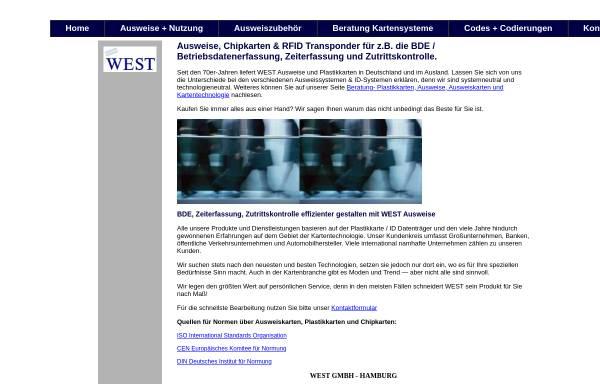 Vorschau von www.bde-zeiterfassung-zutrittskontrolle-ausweis.com, West Zeiterfassung Ausweise