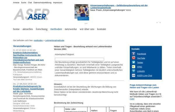 Vorschau von www.institut-aser.de, Heben und Tragen - Beurteilung anhand von Leitmerkmalen