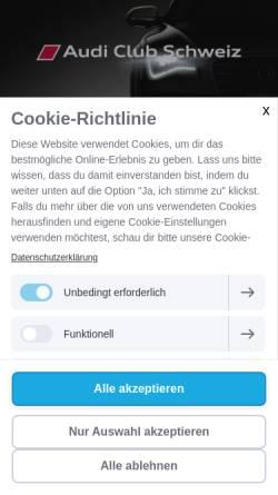 Vorschau der mobilen Webseite www.audiclubschweiz.ch, Audi Club Schweiz