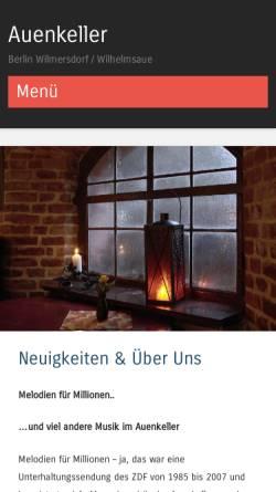 Vorschau der mobilen Webseite www.auenkeller-berlin.de, Auenkeller - Evangelische Auenkirchengemeinde Wilmersdorf
