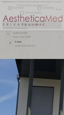 Vorschau der mobilen Webseite www.schoenheitschirurgie-nrw.de, AestheticaMed Privatklinik