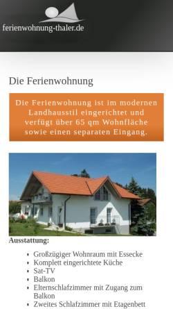 Vorschau der mobilen Webseite www.ferienwohnung-thaler.de, Ferienwohnung Familie Thaler
