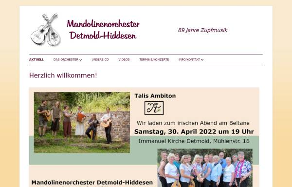 Vorschau von www.mandolinenorchester-hiddesen.de, Mandolinenorchester Detmold-Hiddesen