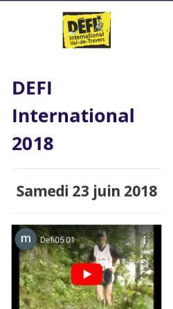 Vorschau der mobilen Webseite www.defi-vdt.ch, Défi, Marathon und Semi-Marathon im Val-de-Travers
