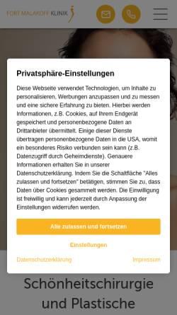 Vorschau der mobilen Webseite www.malakoff-klinik.de, Fort-Malakoff-Klinik GmbH