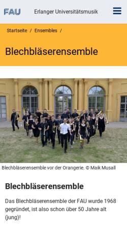 Vorschau der mobilen Webseite www.musik.uni-erlangen.de, Blechbläserensemble der Universität Erlangen