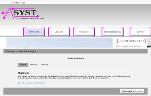 Vorschau von www.asyst.de, ASYST Flach- und Profilschleifmaschinen GmbH