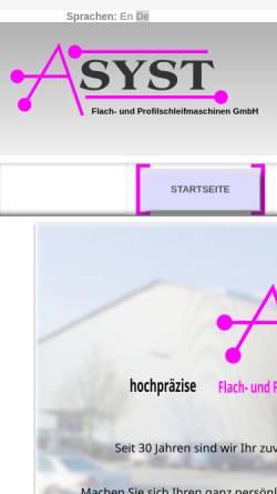 Vorschau der mobilen Webseite www.asyst.de, ASYST Flach- und Profilschleifmaschinen GmbH