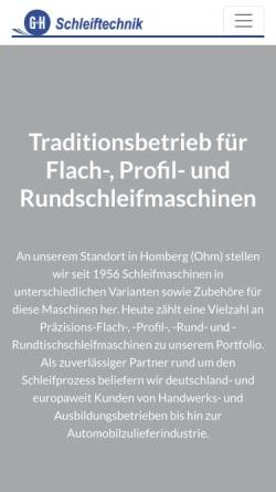 Vorschau der mobilen Webseite www.gh-schleiftechnik.de, G&H Schleiftechnik Geibel & Hotz GmbH
