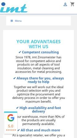 Vorschau der mobilen Webseite www.imt-zinssmeister.de, IMT International Machinery Trading, Inh. Karl Zinssmeister