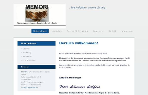 Vorschau von www.ritter-memori.de, MEMORI Werkzeugmaschinen Service GmbH
