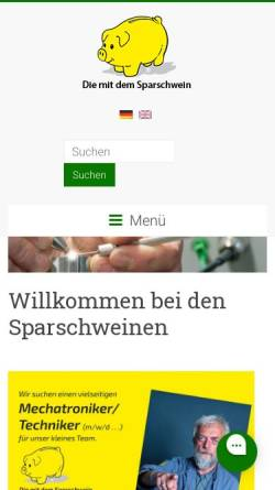 Vorschau der mobilen Webseite www.diesparschweine.de, Die mit dem Sparschwein Botzian & Kirch GmbH