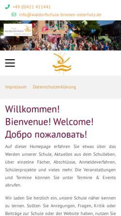 Vorschau der mobilen Webseite www.waldorfschule-bremen-osterholz.de, Freie Waldorfschule Bremen Osterholz