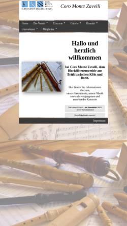 Vorschau der mobilen Webseite www.coro-monte-zavelli.de, Coro Monte Zavelli, Brühl