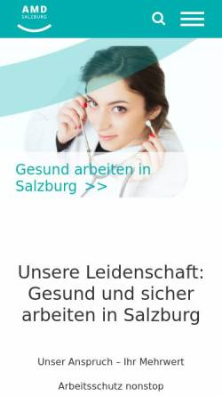 Vorschau der mobilen Webseite amd-sbg.at, Arbeitsmedizinischer Dienst Salzburg
