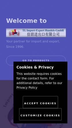 Vorschau der mobilen Webseite www.tl-import-export.de, TL Import-Export Handels-GmbH