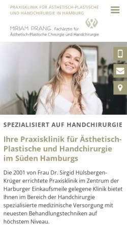 Vorschau der mobilen Webseite www.plastische-chirurgie-harburg.de, Praxisklinik Dr. med. Sigrid Hülsbergen-Krüger