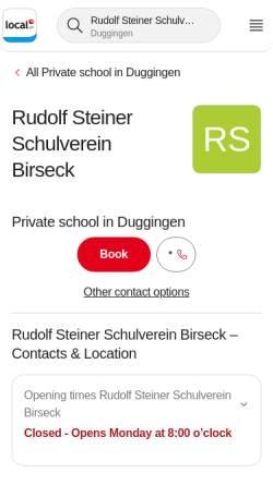 Vorschau der mobilen Webseite www.steinerschule-birseck.ch, Rudolf-Steiner-Schule Birseck