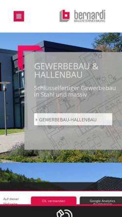 Vorschau der mobilen Webseite www.bernardi-gmbh.de, Bernardi GmbH Bauunternehmung