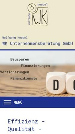 Vorschau der mobilen Webseite www.wk-unternehmensberatung.de, WK Unternehmensberatung Wolfgang Köbel