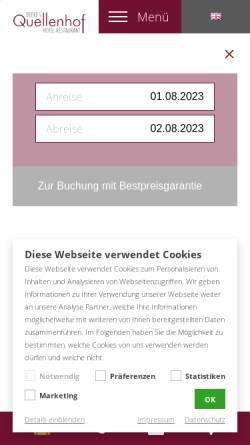 Vorschau der mobilen Webseite www.quellenhof-luebbecke.de, Hotel Quellenhof